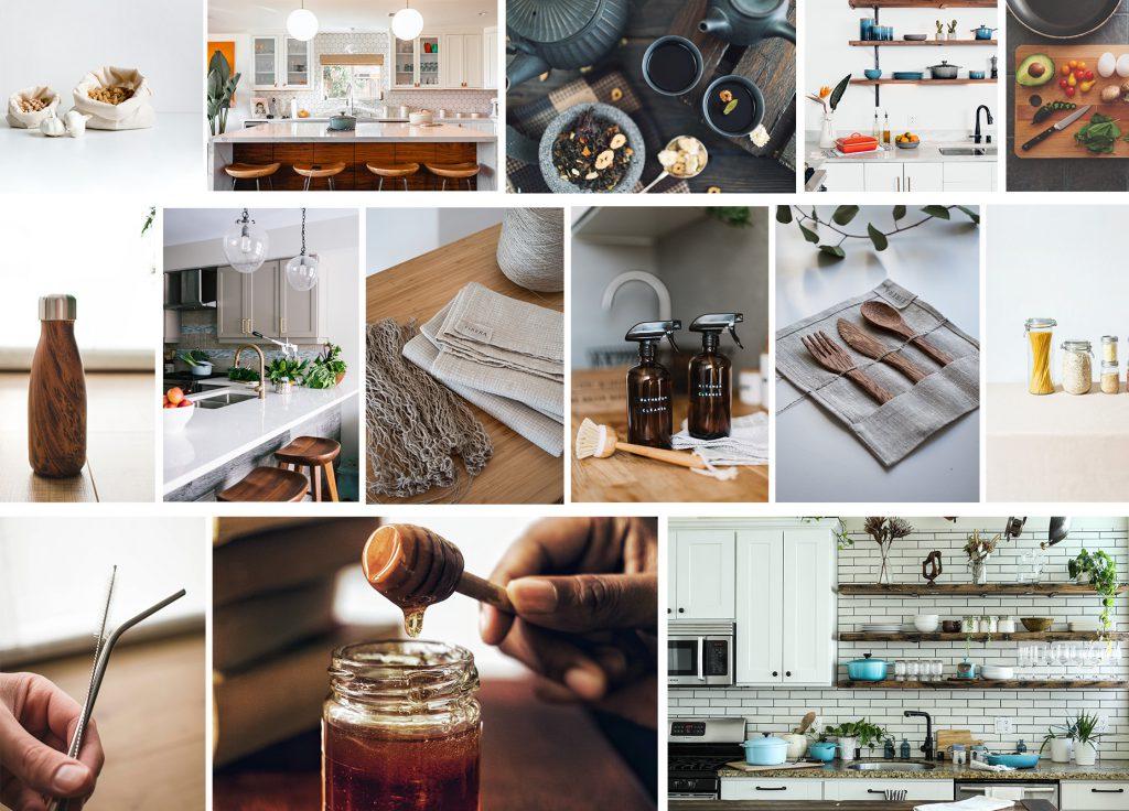 Collage mit Tipps für mehr Nachhaltigkeit in der Küche