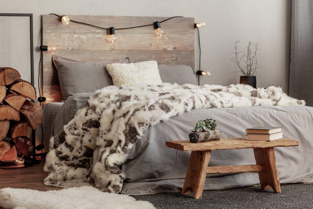 Textilien im Winter im Schlafzimmer