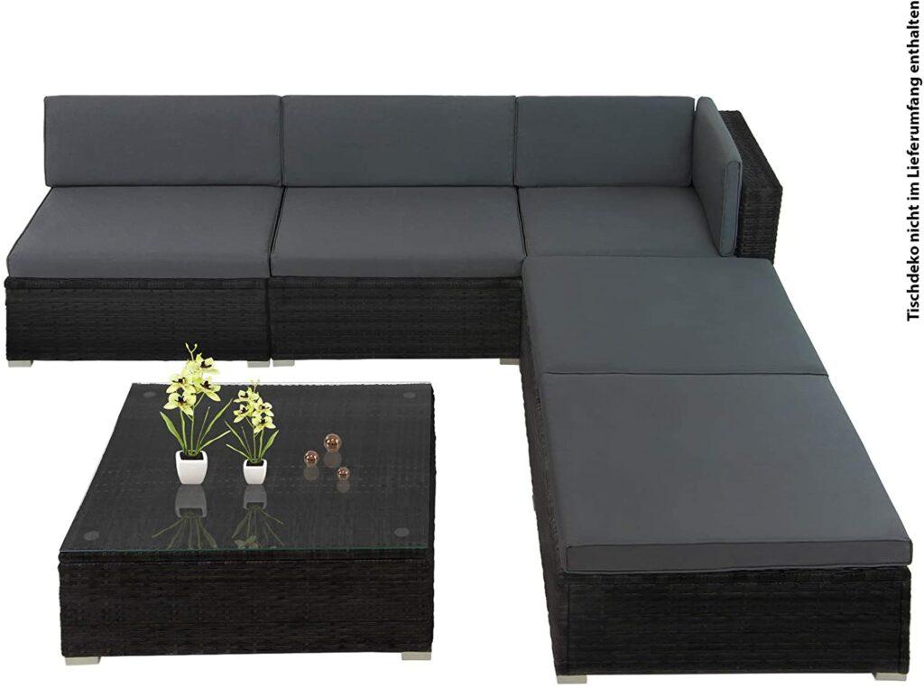 15-teilige Polyrattan Lounge Gartengarnitur Beistelltisch